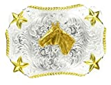 M F Western Products Boys Kid s MF and Gold Horse Head Buckle Silver