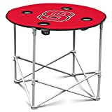 Nc State Wolfpack Collapsible Round Table With 4 Cup Holders And Carry Bag