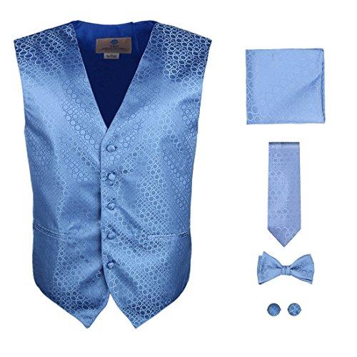 Y&G VS1011-XL Blue Polka Dots Vest Mens Gifts Tie Cufflinks Hanky Bowtie