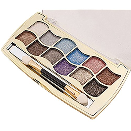 Anshinto 12 Colors Pro Eyeshadow Shimmer Palette & Cosmetic Brush Makeup Kit (2)