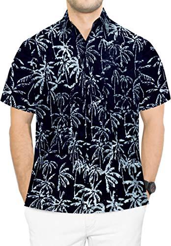 LA LEELA Cotton Button Down Aloha Hawaiian Shirt Black_AA203 2XL |Chest 54