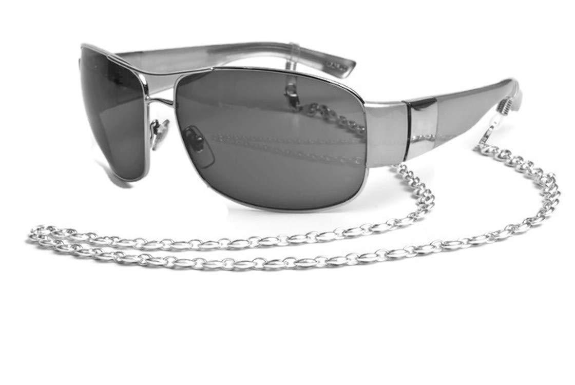 Eyeglass Chain Silver Eyeglass Holder, Elegant Sunglasses Eyewear Retainer - Inspired Gucci Puff Silver Chain Glasses for Women and Men - 925 Silver with Clear Grips by puntarocks