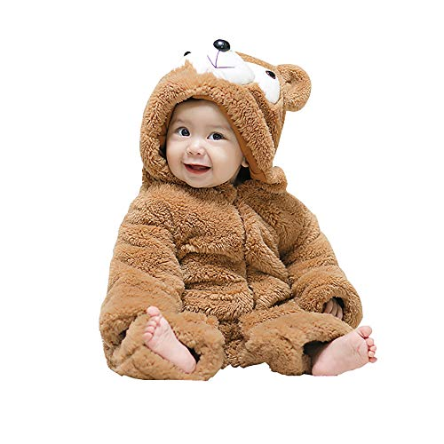 mikistory Baby Snowsuit Newborn Bear Onesie Infant Winter Jumpsuit Romper Thick Hoodie Footies Outfit Brown Bear 12-18Months