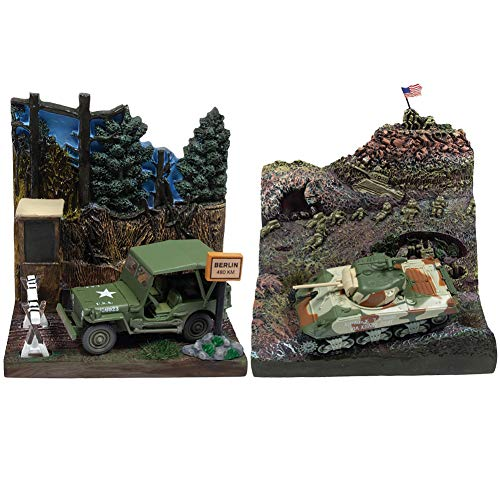 (Johnny Lightning Set/2 WWII Vehicle Dioramas w/ Die Cast Willys MB Jeep & M4A3 Sherman Tank)
