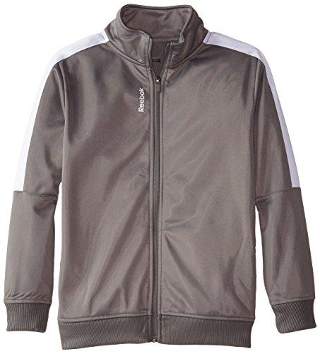 Reebok Big Boys' Tricot Jacket, Shark Grey, Medium (Boys Track Jacket)