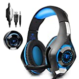 Gaming Headset, Led Light GM-1 Headphone for PS4 PSP Xbox one s Tablet iPhone Ipad Samsung Smartphone, with Adapter Cable for PC (Blue)