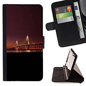 Momo Phone Case / Flip Funda de Cuero Case Cover - Puente de Luz Larga Noche Sunset River City Art - HTC One M7
