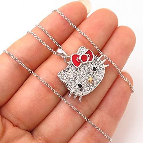 925 Sterling Silver C Z & Enamel Hello Kitty Pendant Chain Necklace 17