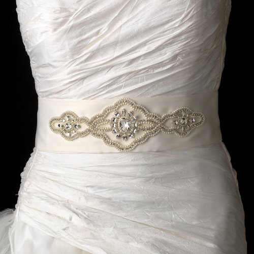 Delicate Pearl & Rhinestone Accented Wedding Bridal Sash Belt - White by Fairytale Bridal Accessories