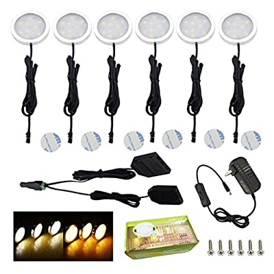 AIBOO Under Cabinet LED Lights Kit 6 Packs Slim Aluminum Puck Lamps with Switch 12Vdc 12W All Accessories Included