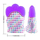 Teething Mitten, Hmane 1 Pair /2pcs Baby Self-soothing Teether Gum Pain Relife Protective Glove for Toddlers FDA Approved - (Purple)