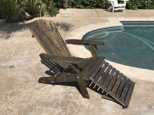 TruePower Outdoor Patio Deck Garden Foldable Adirondack Wood Chair with Pull Out Ottoman (Garden Chair Foldable)