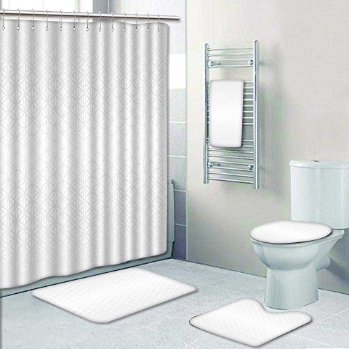 Best VROSELV 5 Piece Bathroom Set Includes Shower Curtain Liner Sacred Geometry Gray