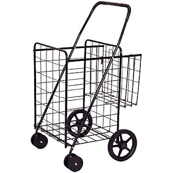 Amazon.com : Goplus Folding Shopping Cart Jumbo Double Basket ...