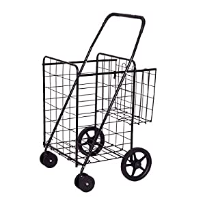Folding Shopping Grocery Cart Jumbo Double Basket