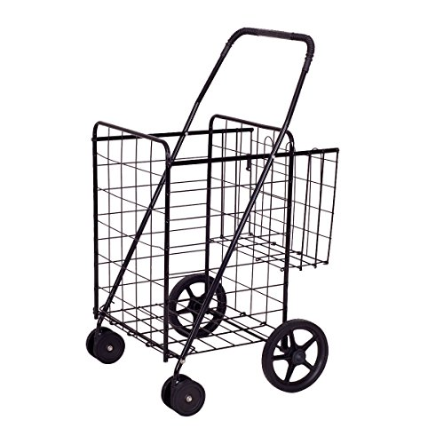 ing Cart Jumbo Double Basket Perfect for Grocery Laundry Book Luggage Travel W/ Swivel Wheels (Laundry Cart)