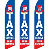3 (three) Pack Tall Swooper Flags TAX Service Fast Refund Red White Blue Cash