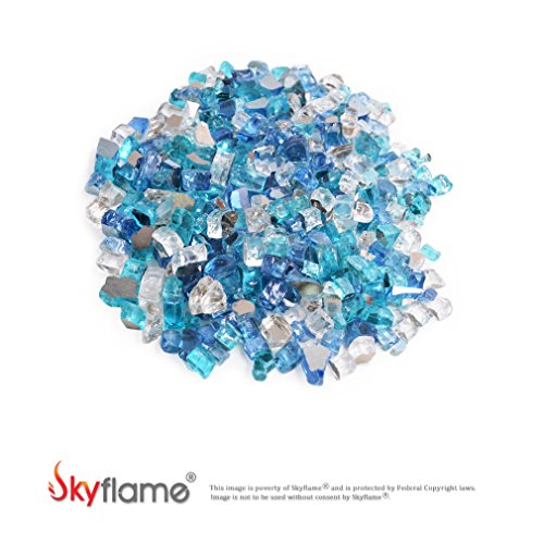 Skyflame 10-Pound Blended Fire Glass for Fire Pit Fireplace Landscaping, 1/2 Inch,Caribbean Blue Platinum Cobalt Blue, Reflective