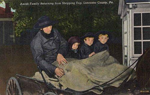 Amish Family returning from shopping trip Lancaster, Pennsylvania Original Vintage - Shopping Lancaster Pennsylvania