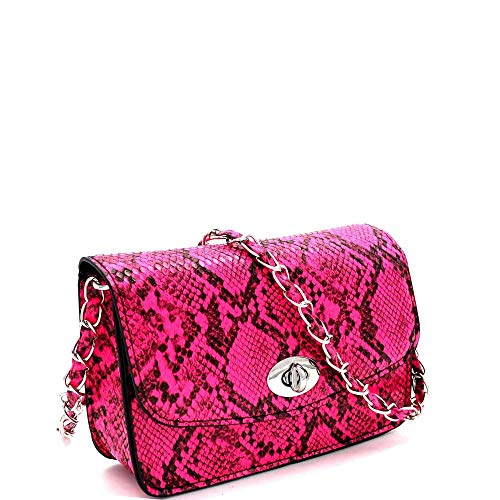 Snake Pink Handbag - Snake Print Turn-Lock Accent Flap Cross Body Neon Colors