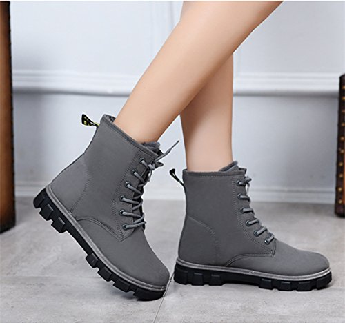 Martin Botas lana Mujer Gris de Planos Nieve Botas Invierno interno antideslizantes Calentar CUSTOME Fur para Zapatos Botines 7XISdxqdw