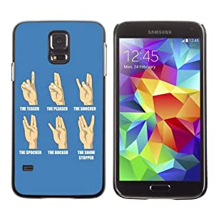 Licase Hard Protective Case Skin Cover for Samsung Galaxy S5 - Funny Hand Signs