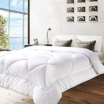 BedStory Down Alternative Comforter King Size - Bed Duvet Insert All Season Comforter Quilted with Ultra Soft Microfiber Fill (350 GSM)- Hypoallergenic & Machine Washable, White