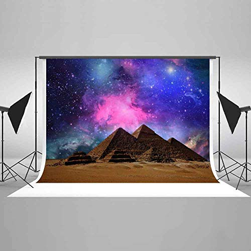 EARVO Pyramids Backdrop Egyptian Travel Themed Party 7x5ft Purple Galaxy Desert Photography Background Cotton Backdrop (Wrinkle Resistance) Photo Booth Props EAGE008 -
