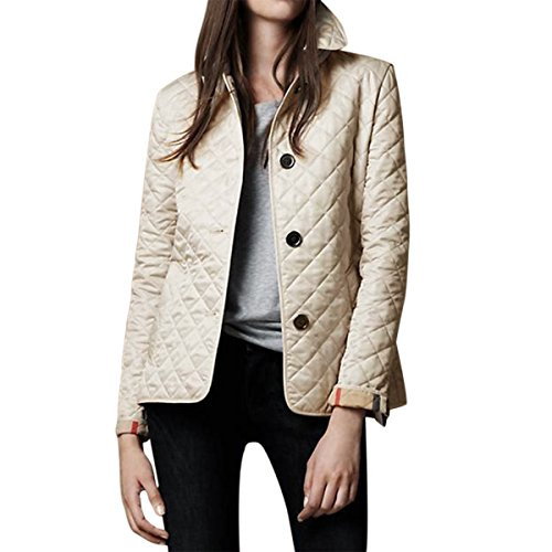 E.JAN1ST Women's Diamond Quilted Jacket Stand Collar Button End With Pocket Coat, Cream, USsize2-4=TagsizeXXL (Cream Spring Coat)