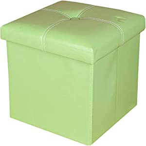 """XIAONUA Small Storage Ottoman Cube Folding, Foot Stool Foot Rest Storage Chest Multifunction Upholstered Storage,PU Leather,Green_11.7""""x11.7""""x11.7"""""""