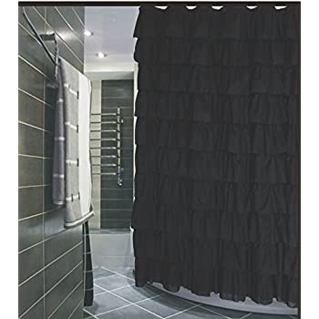 Ruffled Black Fabric Shower Curtain