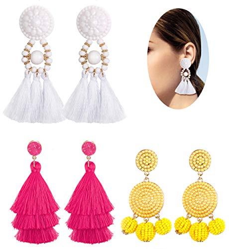 (JOERICA 3 Pairs Bohemian Dangle Tassel Earrings for Women Girls Hoop Ball Bead Fringe Thread Tassel Earrings Set)