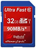 32GB Ultra Fast 90MB/s Memory Card for Canon Digital IXUS 185 camera | Class 10 SD SDHC | BigBuild Technology