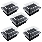 Auntwhale 5 Pack Seed Tray Seedling Starter Trays Plant Grow Starting Germination Kit Greenhouse Grow Trays Plant Tags for Seedling, Flower, Garden