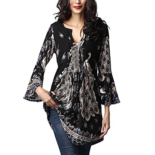 Teresamoon Women's Long Sleeve Pleated Flared Basic Tunic Top Shirts (French Flared Jeans)
