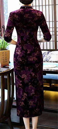 Velours Broderie Florale Féminine Domple Longue Robe Cheongsam Qipao De Six