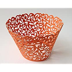 12 pcs Classic Filigree Lace Cupcake Wrappers Wrapper for Standard Size Cupcake Liners (Orange Coral)