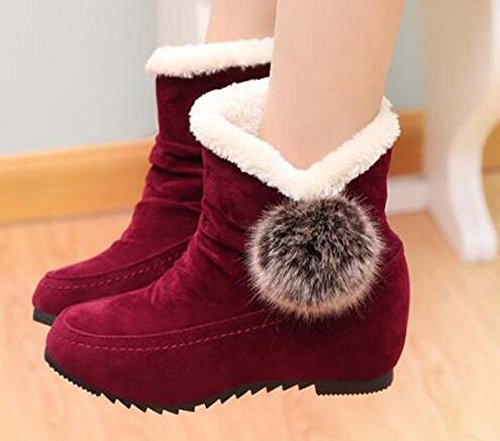 Naughtyangel Women Warm Boots Ball Cute Ankle Fur Lining Suede Slip On Boots Red 5nkMt2