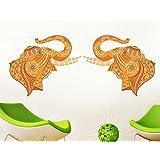 Decals Design 'Pair of ative Elephant' Wall Sticker (PVC Vinyl, 70 cm x 50 cm)