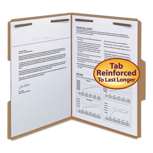 11 Point Kraft Folders, Two Fasteners, 1/3 Cut Top Tab, Letter, Brown, 50/Box