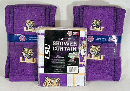 The Northwest, LLC Louisiana State University LSU Tigers 7-Piece Shower Curtain Plus Bath Towel Set