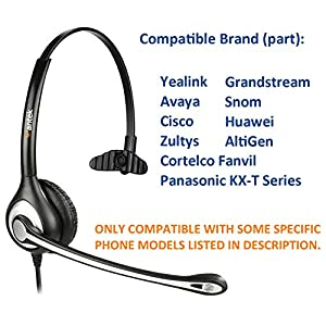 Wantek Corded Telephone Headset Monaural with Noise Canceling Mic for Yealink T42 Avaya 1608 9640 Cisco 7905 7911 Grandstream GXP1400 Snom 870 Huawei C58 AltiGen IP805 Panasonic KXT IP Phones(F600Y1)