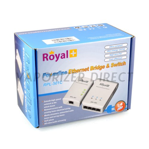 Royal RPL-501C Powerline Ethernet Bridge & Switch - 4 Ports Connect Up to 4 Internet Devices by Royal