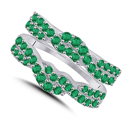 Gorgeous Look Sterling Silver 1.00 ct Round-cut Lab Created Green Emerald Enhancer Solitaire Ring Guard Jewelry - Emerald Solitaire Enhancer
