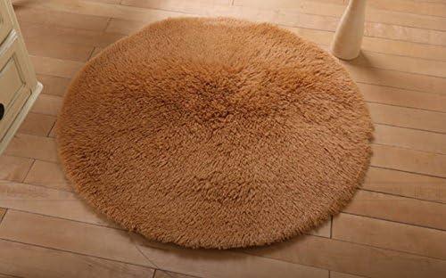 Round Area Rugs Super Soft Living Room Bedroom Home Shag Carpet Camel