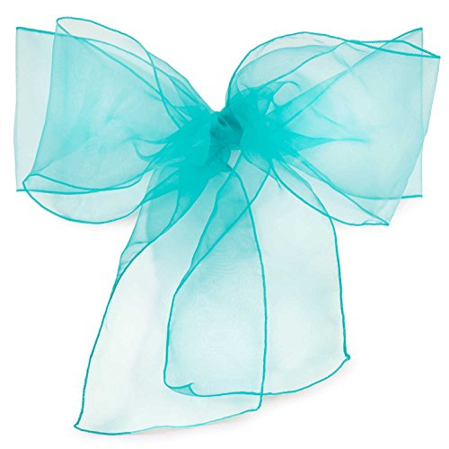 Lann's Linens - 10 Elegant Organza Wedding/Party Chair Cover Sashes/Bows - Ribbon Tie Back Sash - Turquoise (Ties For Chairs Bow)