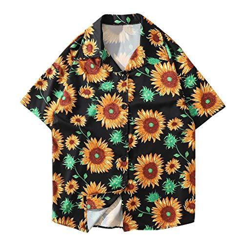 Shirt Hawaiian Summer Fashion Shirts Casual Short Sleeve Beach Tops Loose Casual Blouse Mens (XXL,2- Black)]()