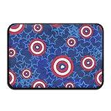USA American Flag Stars Love Heart Blue Bath Mat - Memory Foam Shower Spa Rug Bathroom Kitchen Floor Carpet Home Decor with Non Slip Backing17x24 Inch 18'' x 30'' Inches
