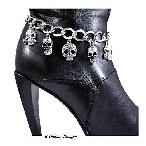 Skull Boot Bracelet Bling Iron Chain Motorcycle Biker Accessory Personalized Word Tag and/or Riding Bell Custom Jewelry