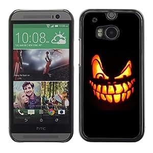 HTC One M8 - Metal de aluminio y de plástico duro Caja del teléfono - Negro - Halloween Evil Pumpkin laugh